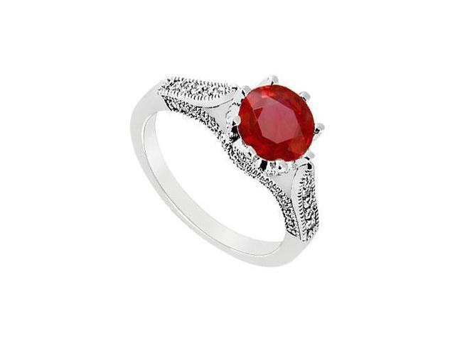 July Birthstone Created Ruby and CZ Milgrain Engagement Ring in 14K White Gold 1.00 ct.tgw