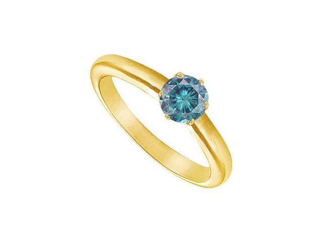 Blue Diamond Round Prong Set Solitaire Ring  14K Yellow Gold 0.50 CT Diamond