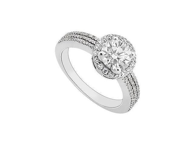 14K White Gold Semi Mount Engagement Ring with 0.50 Carat Diamonds Not Included Center Diamond