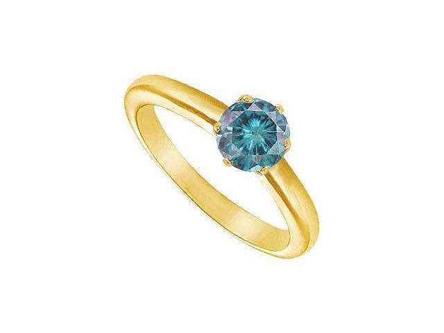 Blue Diamond Round Prong Set Solitaire Ring  14K Yellow Gold 1.00 CT Diamond