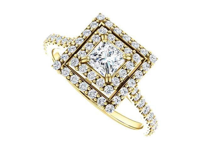 Halo Diamond Engagement Ring with Double Halo in 14K Yellow Gold 1.00 CT TDW