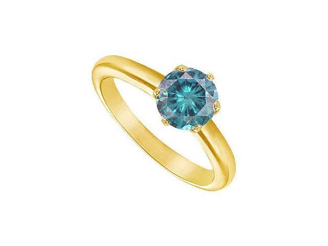 Blue Diamond Round Prong Set Solitaire Ring  14K Yellow Gold 1.50 CT Diamond