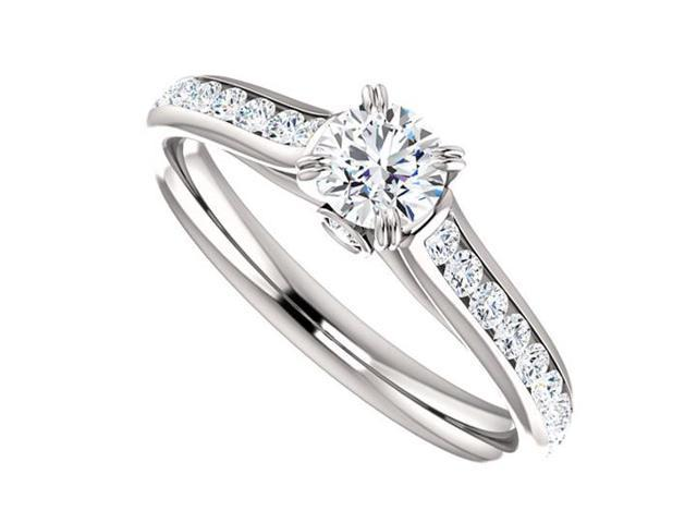April Birthstone Diamond Engagement Rings in 14kt White Gold 1.00 CT TGW