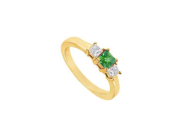 Three Stone Emerald Diamond Engagement Ring  14K Yellow Gold - 1.00 CT TGW