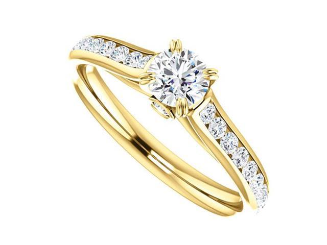April Birthstone Diamond Engagement Rings in 14kt Yellow Gold 1.00 CT TGW