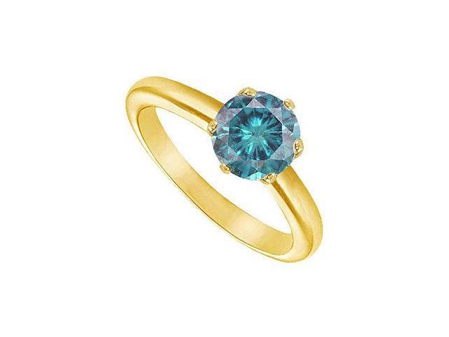 Blue Diamond Round Prong Set Solitaire Ring  14K Yellow Gold 2.00 CT Diamond