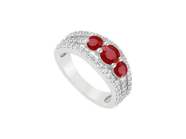 Three Stone Engagement Ring with Created Ruby and CZ in 14K White Gold 2.25.ct.tgw