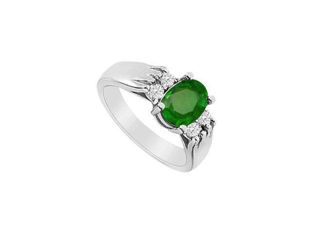 Frosted Emerald and CZ Engagement Ring in 10K White Gold with 1.50 Carat TGW