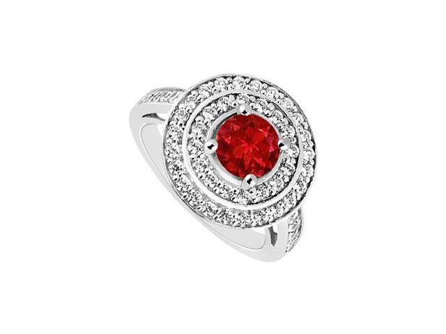 July Birthstone Created Ruby Halo Engagement Rings in 14K White Gold 1.00.ct.tgw