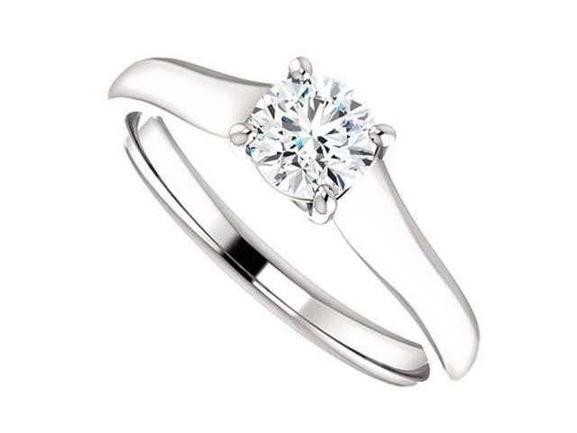 April Birthstone Diamond Solitaire Engagement Rings in 14K White Gold 0.50 CT TDW