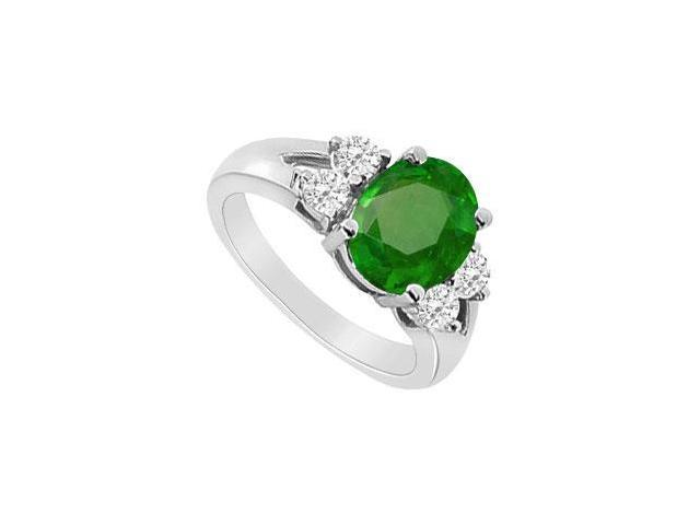 10K White Gold Frosted Emerald Engagement Ring with TGW 1.50 Carat side Cubic Zirconia
