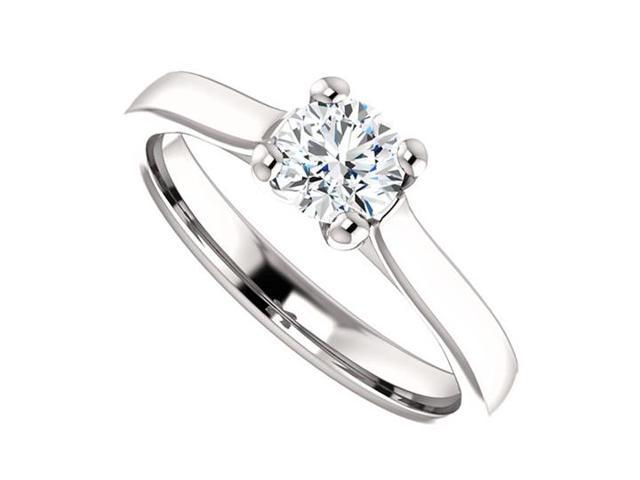 April Birthstone Diamond Round Solitaire Engagement Rings in 14K White Gold 0.50 CT TDW