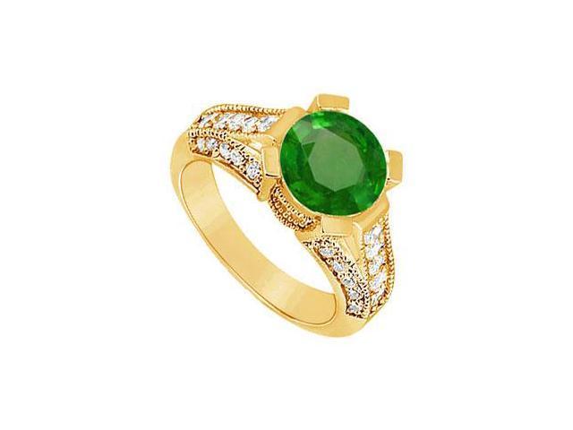 Emerald and Diamond Engagement Ring  14K Yellow Gold - 1.00 CT TGW