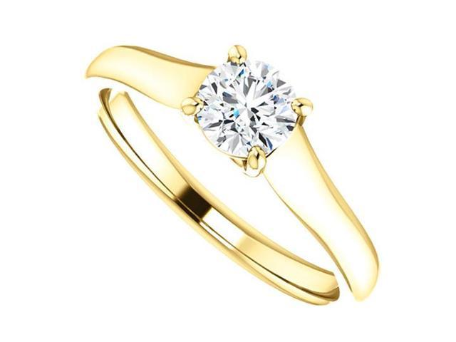 April Birthstone Diamond Solitaire Engagement Rings in 14K Yellow Gold 0.50 CT TDW