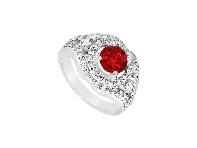July Birthstone Created Ruby and CZ Wide Band Engagement Rings in 14K White Gold 1.50.ct.tgw