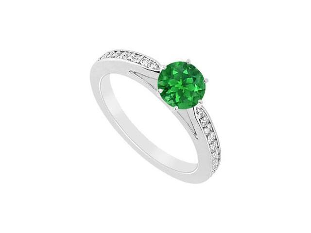 Half carat Frosted Emerald and CZ Engagement Ring in 10K White Gold 0.75 Carat TGW