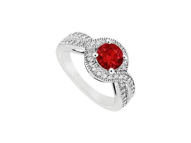 July Birthstone Created Ruby and CZ Halo Engagement Rings in 14K White Gold 1.00.ct.tgw.