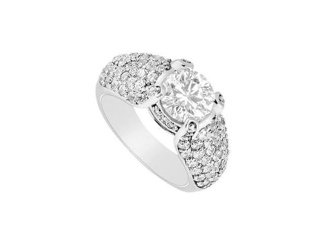 Diamond Engagement Ring  14K White Gold - 2.00 CT Diamonds