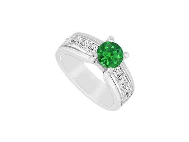 May Birthstone Emerald  Princess Cut Diamond Engagement Ring in 14K White Gold 2 CT TGW