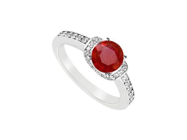 July Birthstone Created Ruby and Cubic Zirconia Engagement Rings in 14K White Gold 1.25.ct.tgw