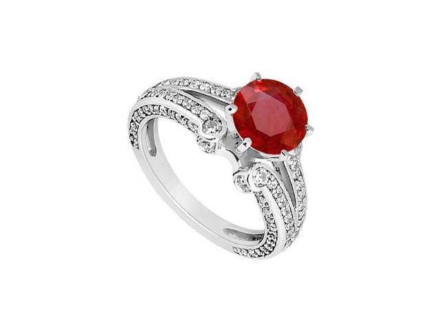 July Birthstone Created Ruby and CZ Engagement Rings in 14K White Gold 1.75 ct.tgw