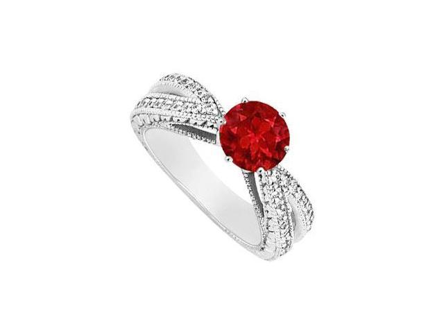 July Birthstone Created Ruby and CZ Motif Engagement Ring 14K White Gold 1.50 ct.tgw