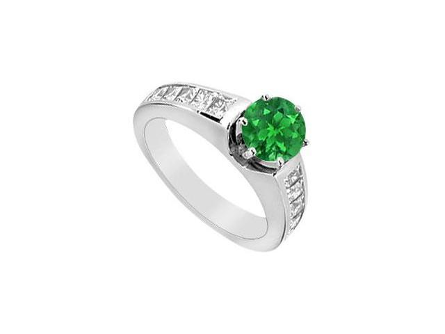 1 Carat Princess Cut Diamond and Emerald Engagement Ring in 14K White Gold 1.50 Carat TGW