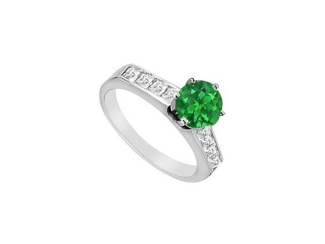 0.50 CT Natural Emerald  Princess Cut Diamond Engagement Ring in 14K White Gold 1.10 Carat TGW