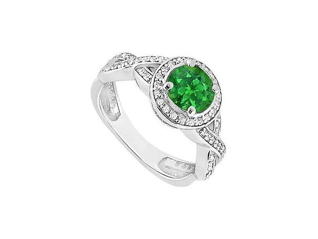 Emerald and Diamond Halo Engagement Ring  14K White Gold - 1.10 CT TGW