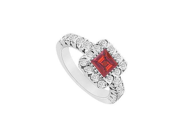 Square Created Ruby and CZ Halo Engagement Ring in 14K White gold 1.25.ct.tgw