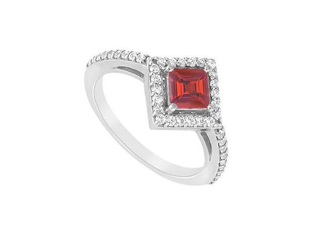 July Birthstone Square Created Ruby and CZ Halo Engagement Ring 14K White gold 1.00.ct.tgw