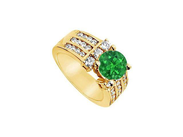 Emerald and Diamond Engagement Ring  14K Yellow Gold - 2.25 CT TGW