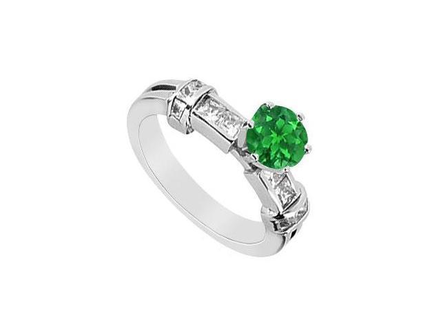 Natural Emerald Prong Set Engagement Ring with Diamond Channel Set in 14K White Gold 1.00 Carat