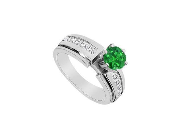 14K White Gold Channel Set Diamond and Natural Emerald Engagement Ring with 1.25 Carat TGW