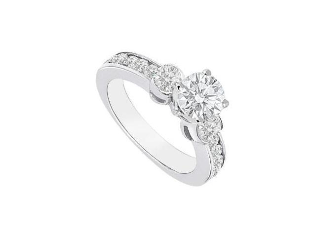 14K White Gold Semi Mount Engagement Ring with 0.90 Carat Diamonds Not Included Center Diamond