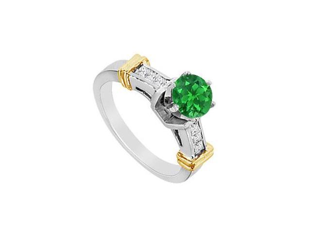 Diamond and Natural Emerald Engagement Ring in 14K White and Yellow Gold 1.00 Carat TGW