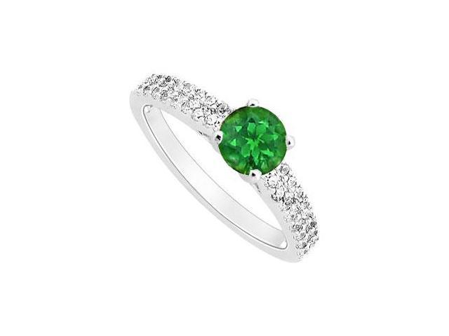 May Birthstone Created Emerald and Cubic Zirconia Engagement Ring in 14K White Gold 0.75 CT TGW
