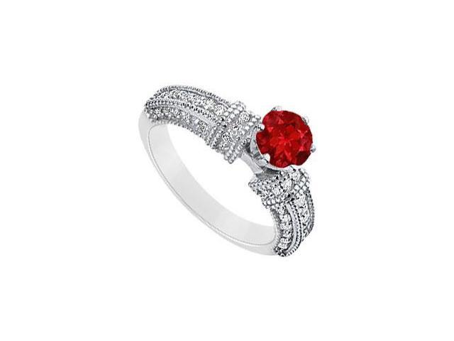July Birthstone Round Created Ruby and CZ Filigree Engagement Rings 14K White gold 1ct.tgw