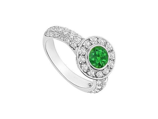 Emerald and Diamond Halo Engagement Ring  14K White Gold - 2.25 CT TGW