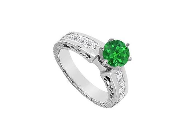 14K White Gold Natural Emerald and Channel Set Diamond Engagement Ring with 1.40 Carat TGW
