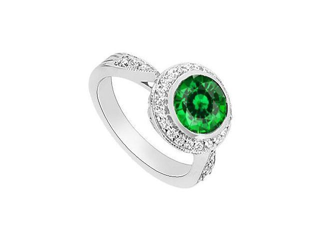 Frosted Emerald and Diamond Halo Engagement Ring 14K White Gold 2.30 Carat Total Gem Weight