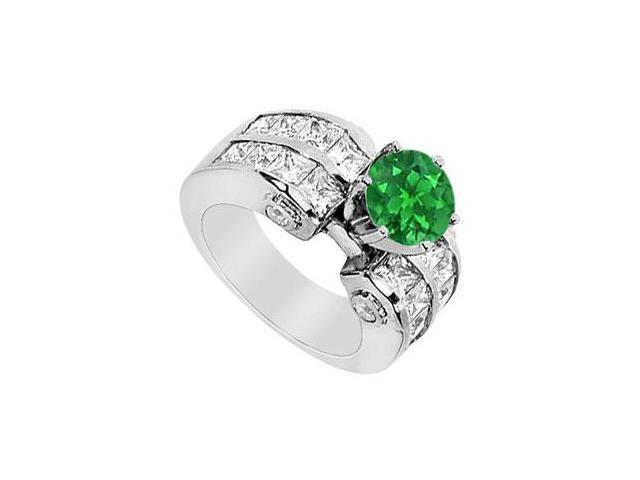Natural Emerald Prong Set with Diamond Channel set Engagement Ring in 14K White Gold 3.65 Carat