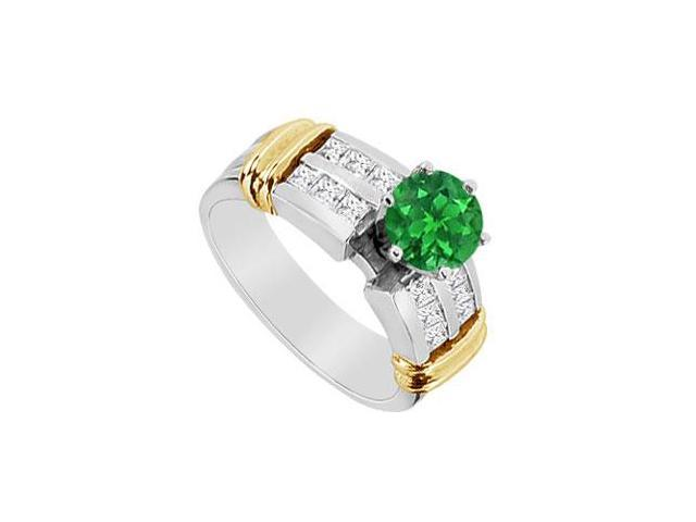 14K Two Tone White and Yellow Gold Engagement Ring with Diamond and Natural Emerald 1.10 CT TGW