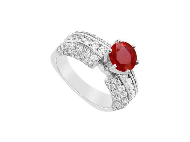 July Birthstone Created Ruby and CZ Engagement Ring in 14K White Gold 3.25.ct.tgw