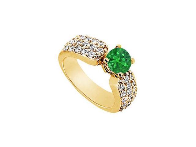 Emerald and Diamond Engagement Ring  14K Yellow Gold - 2.00 CT Diamonds
