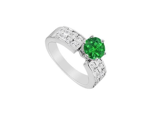 May Birthstone Natural Emerald with Square Diamond Engagement Ring 14K White Gold 1.00 CT TGW