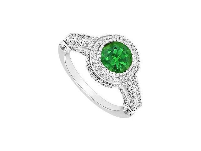 Emerald and Diamond Halo Engagement Ring  14K White Gold - 1.75 CT TGW