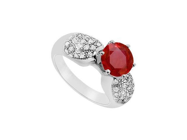 July Birthstone Created Ruby and CZ Cluster Engagement Rings in 14K White Gold 1.50.ct.tgw