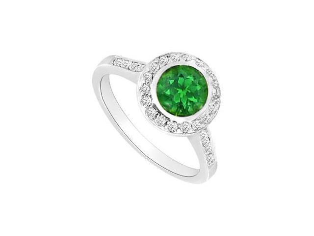 Emerald and Diamond Halo Engagement Ring  14K White Gold - 1.25 CT TGW