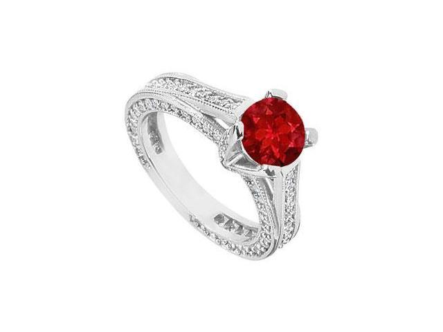 Created Ruby and Cubic Zirconia Filigree Engagement Rings in 14kt White Gold 2.50.ct.tgw